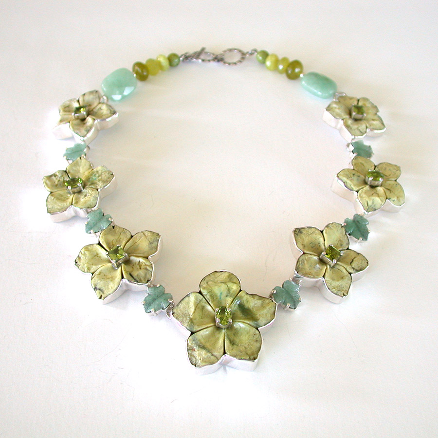 Amy Kahn Russell Online Trunk Show: Carved Serpentine Jade, Aventurine & Peridot Necklace | Rendezvous Gallery