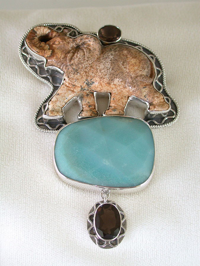 Amy Kahn Russell Online Trunk Show: Smoky Quartz, Carved Jasper Elephant & Amazonite Pin/Pendant | Rendezvous Gallery