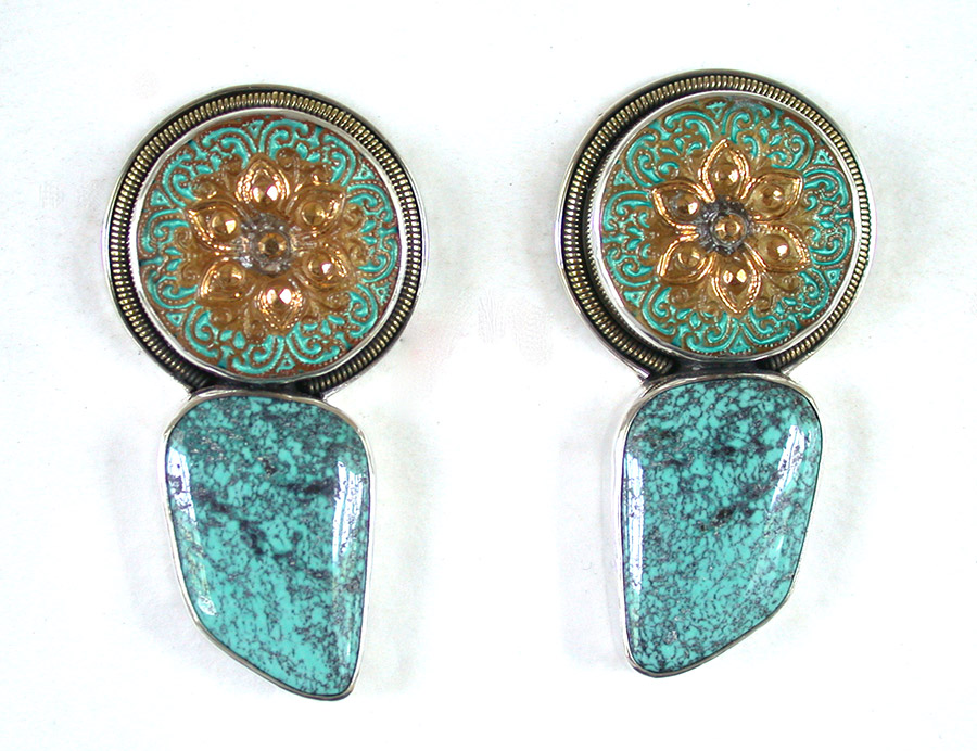 Amy Kahn Russell Online Trunk Show: Czech Glass Button & Turquoise Post Earrings | Rendezvous Gallery