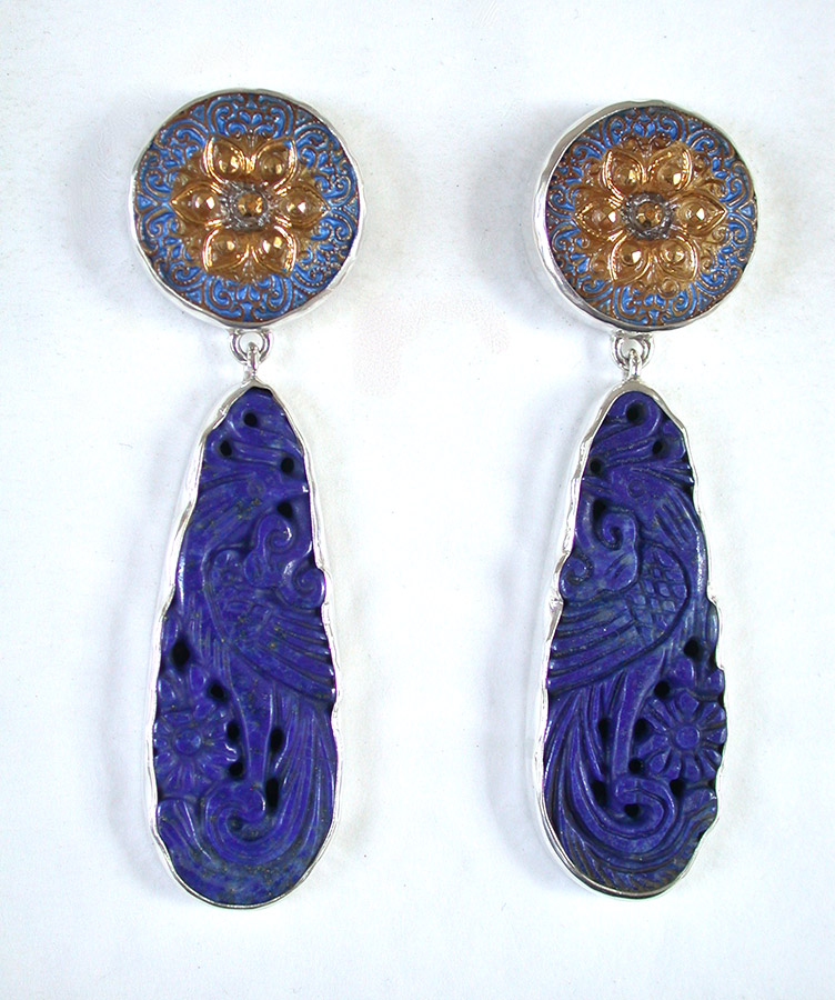 Amy Kahn Russell Online Trunk Show: Czech Glass Button & Carved Lapis Lazuli Post Earrings | Rendezvous Gallery