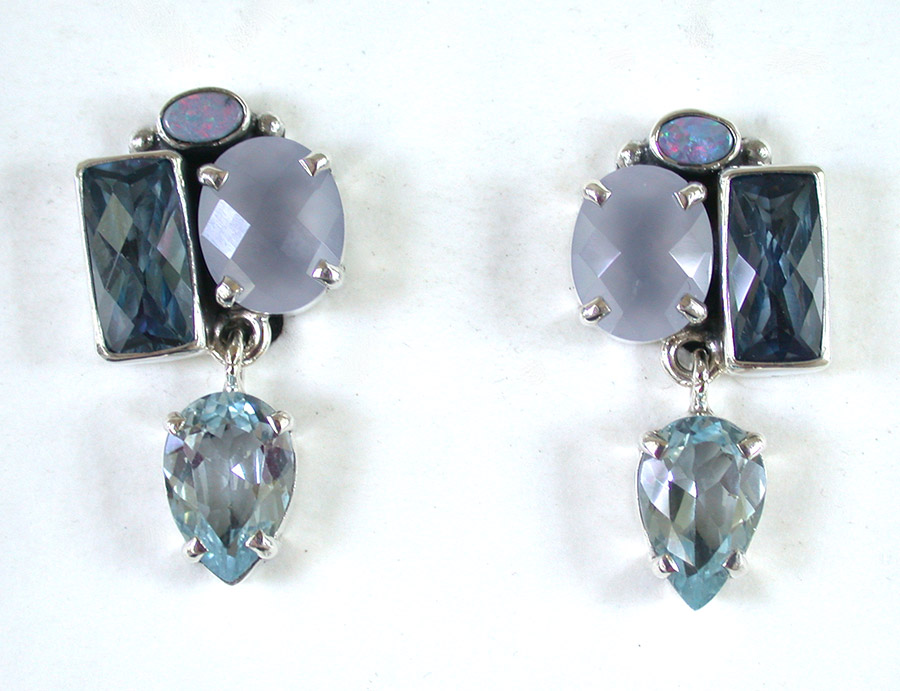 Amy Kahn Russell Online Trunk Show: Opal, Chalcedony & Blue Topaz Clip Earrings | Rendezvous Gallery