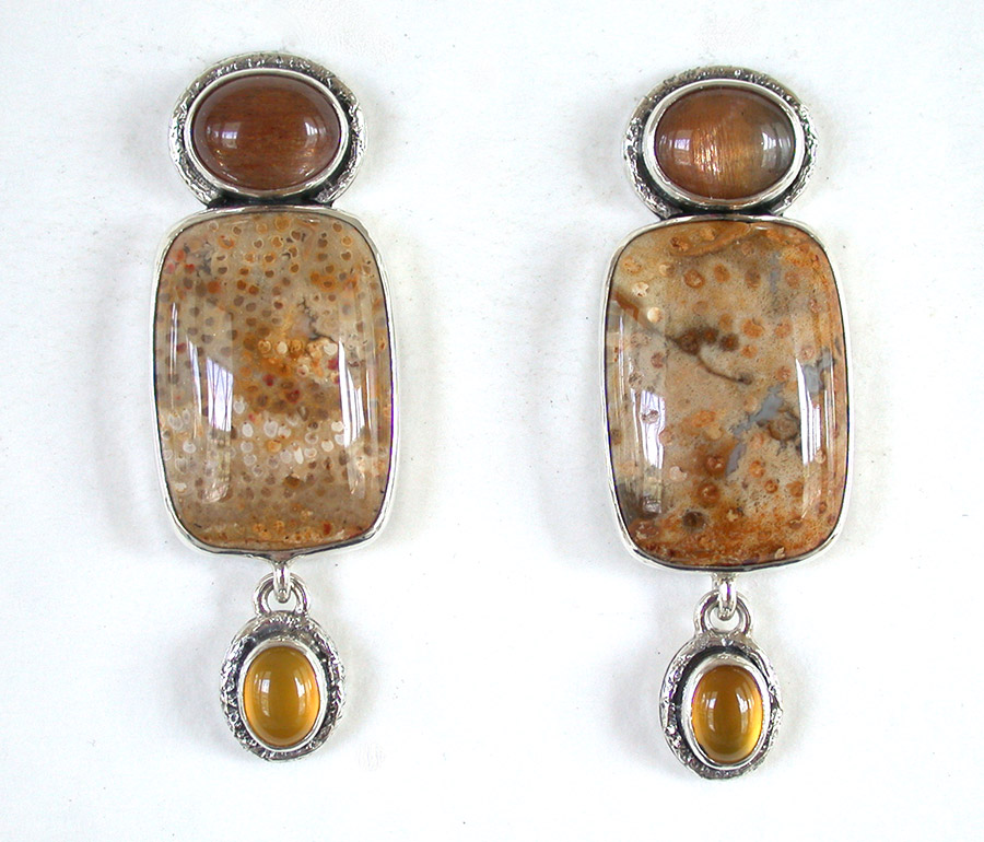 Amy Kahn Russell Online Trunk Show: Quartz & Petrified Palmwood Clip Earrings | Rendezvous Gallery