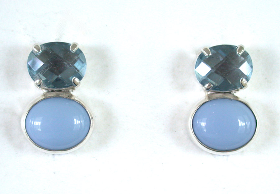 Amy Kahn Russell Online Trunk Show: Faceted Blue Quartz & Agate Clip Earrings | Rendezvous Gallery