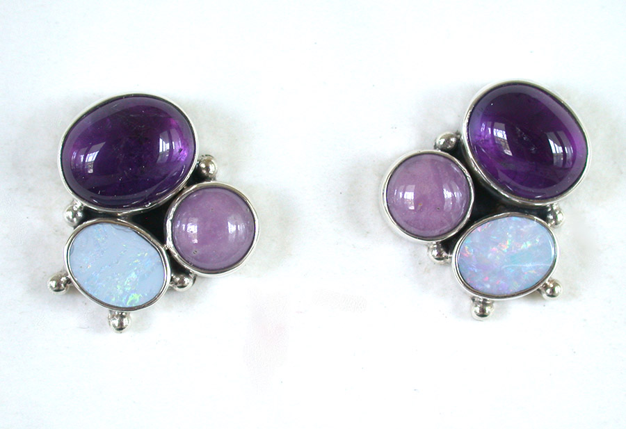 Amy Kahn Russell Online Trunk Show: Amethyst, Opal & Phosfiterate Post Earrings | Rendezvous Gallery