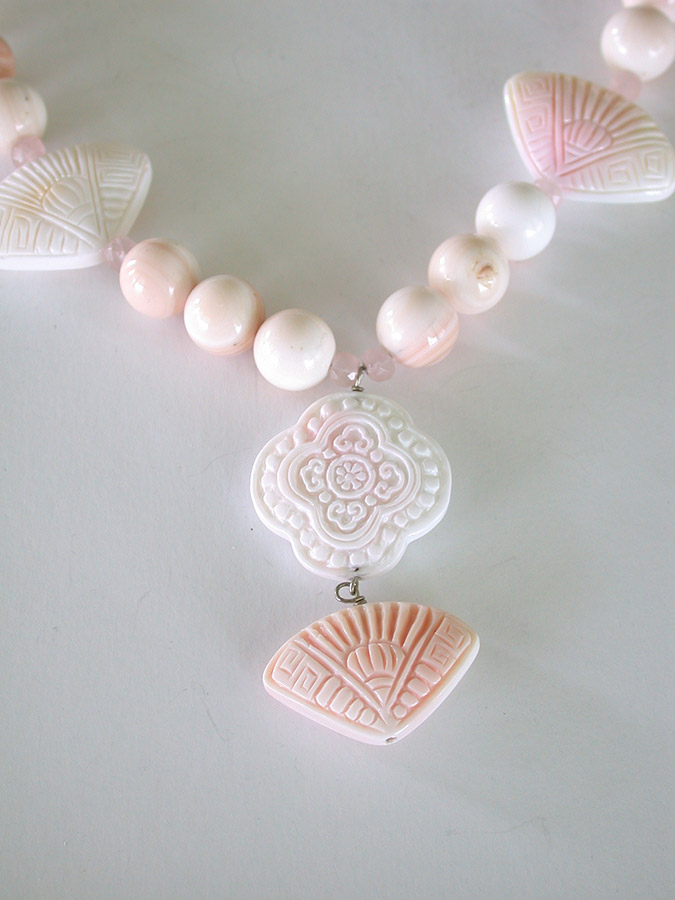 Amy Kahn Russell Online Trunk Show: Rose Quartz & Shell Necklace | Rendezvous Gallery