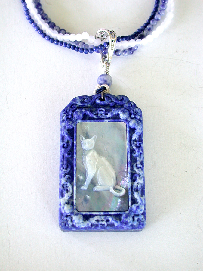 Amy Kahn Russell Online Trunk Show: Carved Mother of Pearl, Lapis Lazuli & Sodalite Necklace | Rendezvous Gallery
