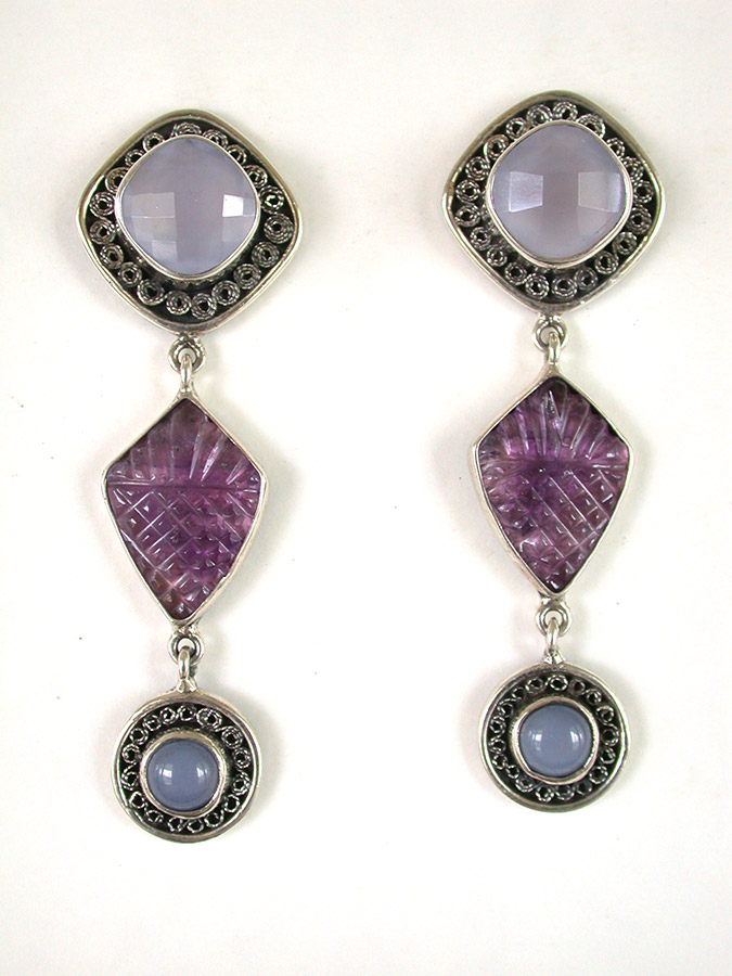 Amy Kahn Russell Online Trunk Show: Chalcedony & Amethyst Post Earrings | Rendezvous Gallery