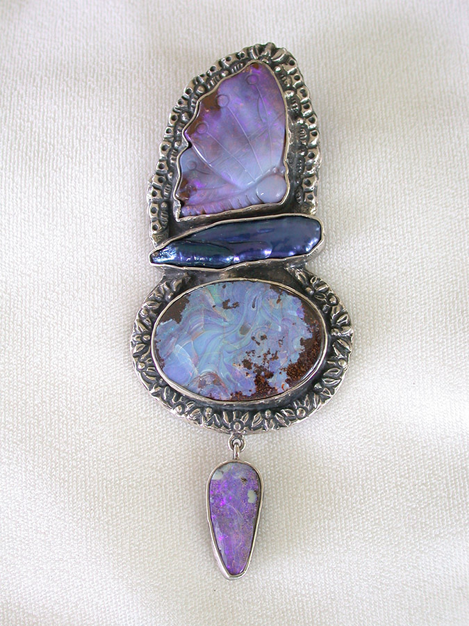 Amy Kahn Russell Online Trunk Show: Boulder Opal & Freshwater Pearl Pin/Pendant | Rendezvous Gallery