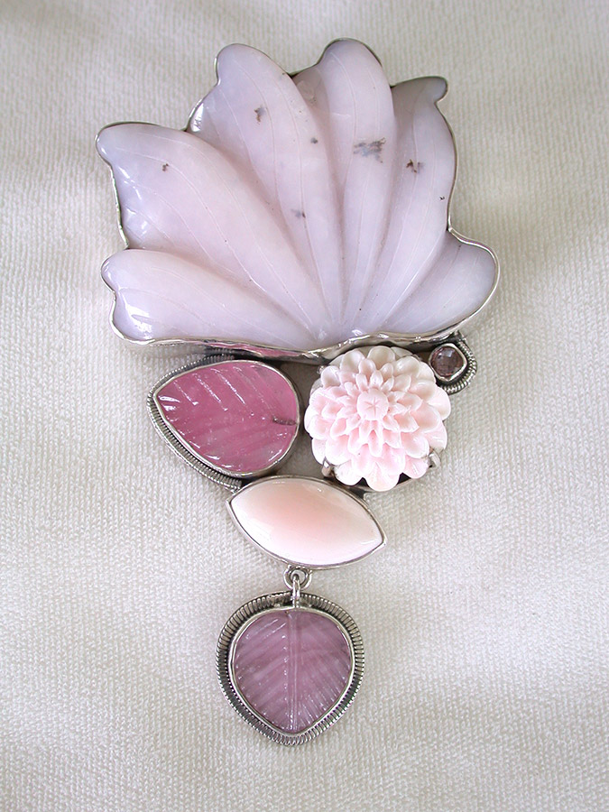Amy Kahn Russell Online Trunk Show: Carved Pink Opal, Shell, Glass & Quartz Pin/Pendant | Rendezvous Gallery