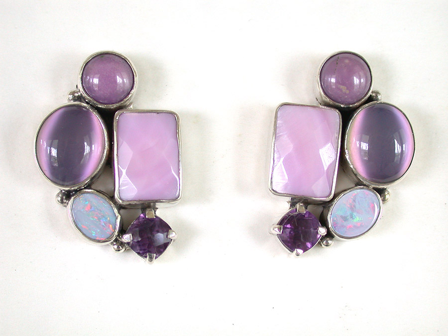 Amy Kahn Russell Online Trunk Show: Moonstone, Mother of Pearl, Amethyst & Opal Post Earrings | Rendezvous Gallery