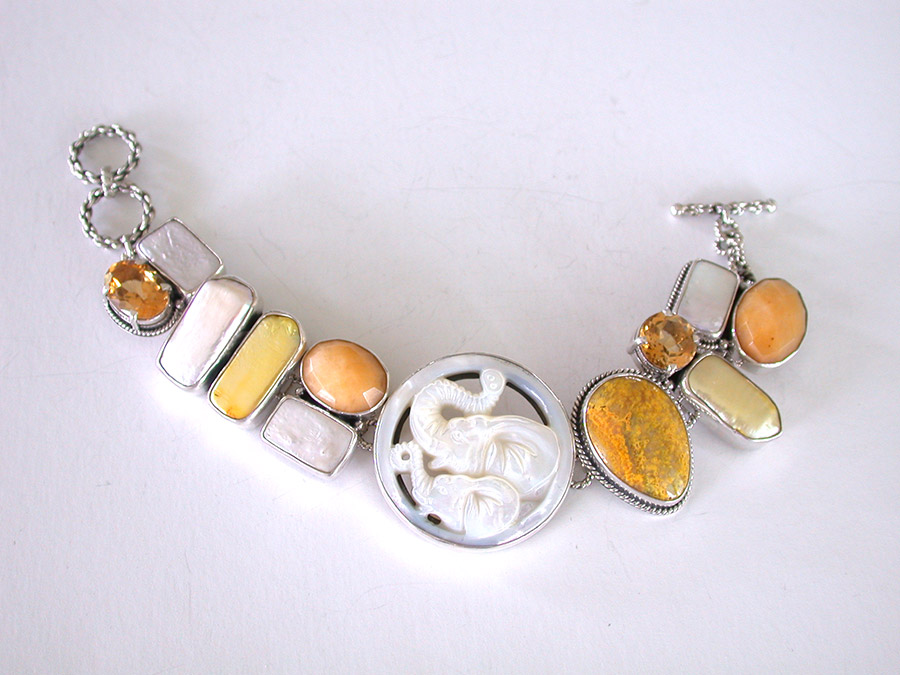 Amy Kahn Russell Online Trunk Show: Carved Mother of Pearl, Citrine, Pearl, Jasper & Quartz Bracelet | Rendezvous Gallery