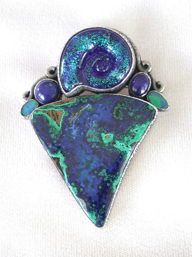 Amy Kahn Russell Online Trunk Show: Dichroic Glass, Lapis Lazuli & Opal Pin/Pendant | Rendezvous Gallery