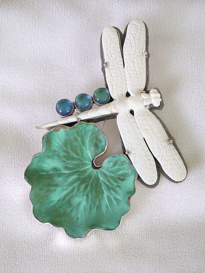 Amy Kahn Russell Online Trunk Show: Carved Bone Dragonfly, Brass & Quartz Pin/Pendant | Rendezvous Gallery