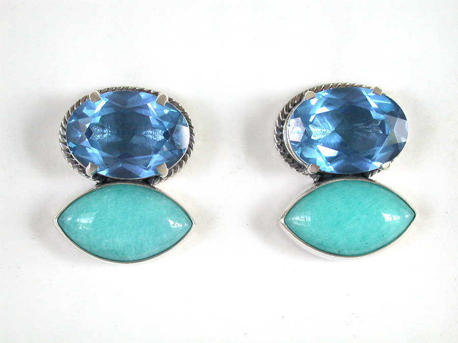 Amy Kahn Russell Online Trunk Show: Blue Quartz & Amazonite Post Earrings | Rendezvous Gallery
