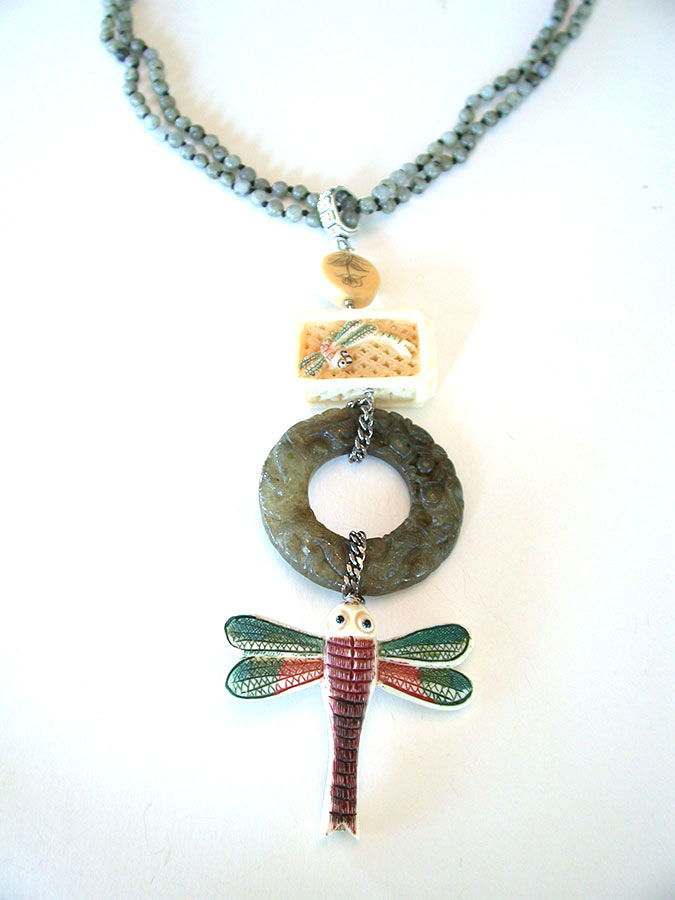 Amy Kahn Russell Online Trunk Show: Carved Bone & Labradorite Necklace | Rendezvous Gallery