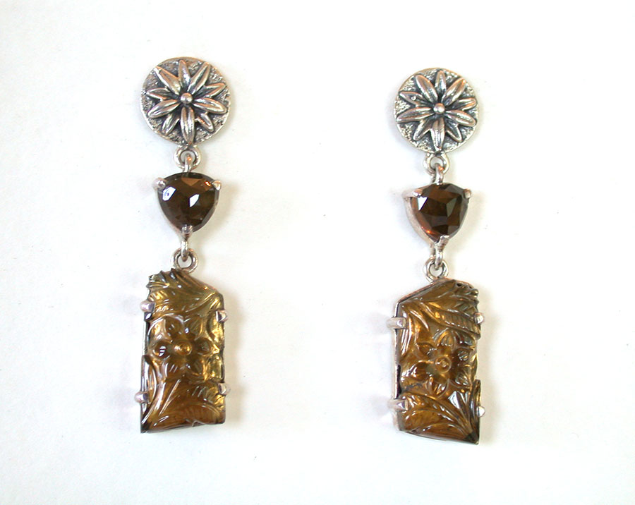 Amy Kahn Russell Online Trunk Show: Faceted Topaz & Carved Cognac Quartz Post Earrings | Rendezvous Gallery