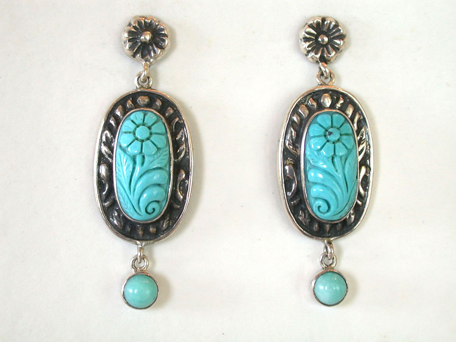 Amy Kahn Russell Online Trunk Show: Carved Turquoise & Amazonite Post Earrings | Rendezvous Gallery