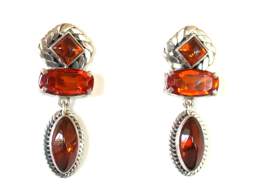 Amy Kahn Russell Online Trunk Show: Amber & Hessonite Post Earrings | Rendezvous Gallery