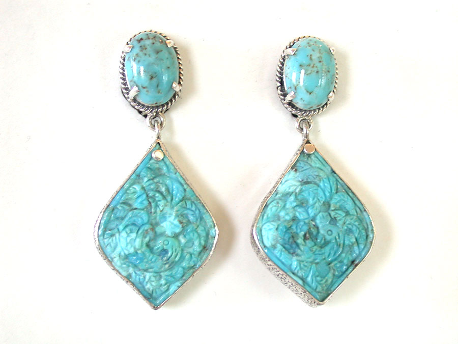 Amy Kahn Russell Online Trunk Show: Turquoise Clip Earrings | Rendezvous Gallery