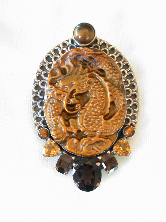 Amy Kahn Russell Online Trunk Show: Carved Tiger's Eye, Citrine & Topaz Pin/Pendant | Rendezvous Gallery