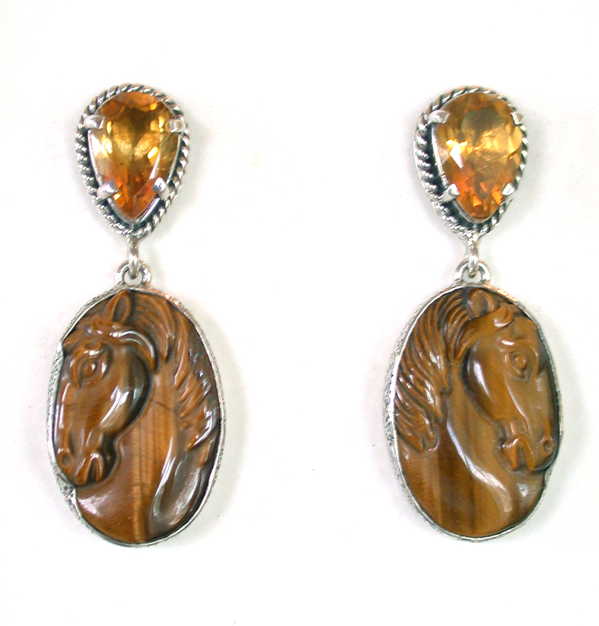 Amy Kahn Russell Online Trunk Show: Citrine & Carved Tiger's Eye Post Earrings | Rendezvous Gallery