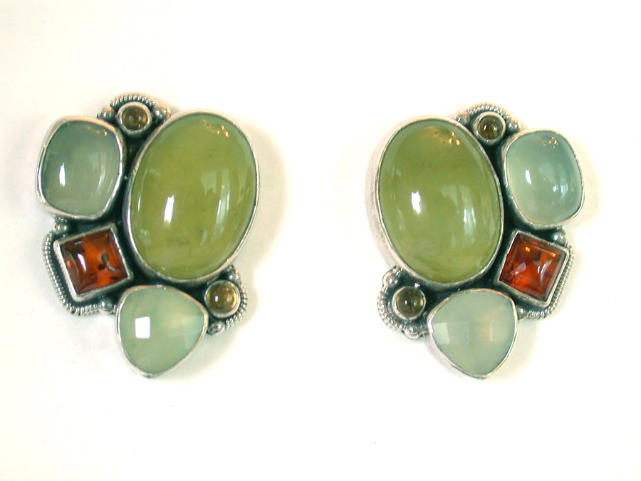 Amy Kahn Russell Online Trunk Show: Prehnite & Amber Post Earrings | Rendezvous Gallery