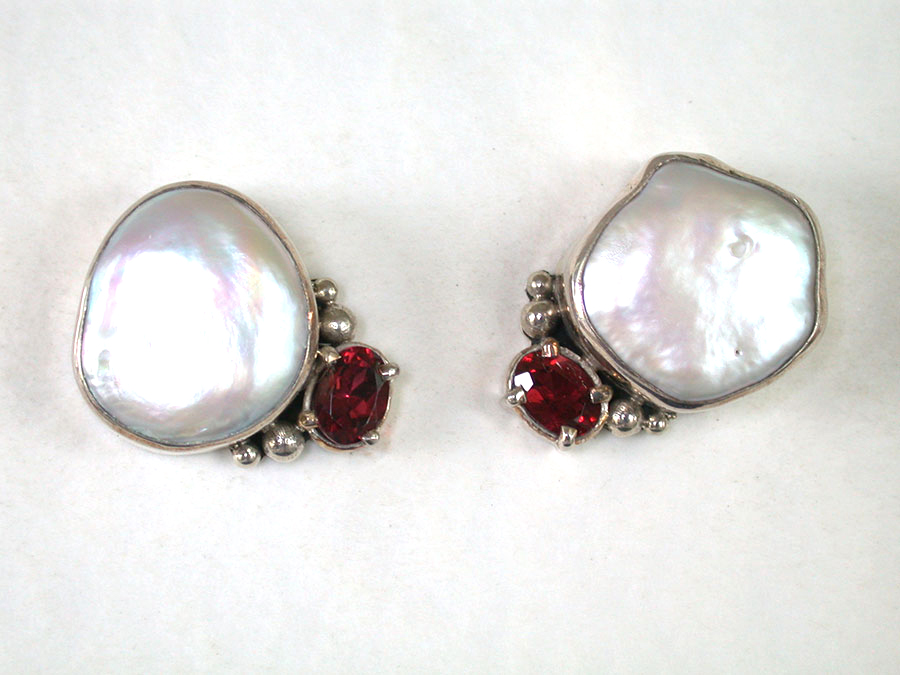 Amy Kahn Russell Online Trunk Show: Freshwater Pearl & Garnet Post Earrings | Rendezvous Gallery