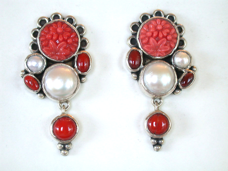 Amy Kahn Russell Online Trunk Show: Carved Glass, Coral & Freshwater Pearl Clip Earrings | Rendezvous Gallery