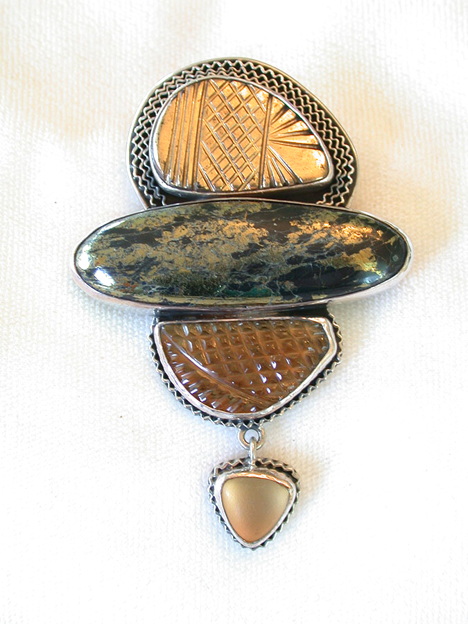 Amy Kahn Russell Online Trunk Show: Agate, Chalco Pyrite & Quartz Pin/Pendant | Rendezvous Gallery
