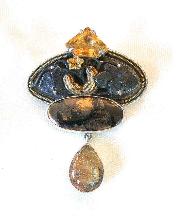 Amy Kahn Russell Online Trunk Show: Citrine, Raw Metal, Apache Gold & Rutilated Quartz Pin/Pendant | Rendezvous Gallery