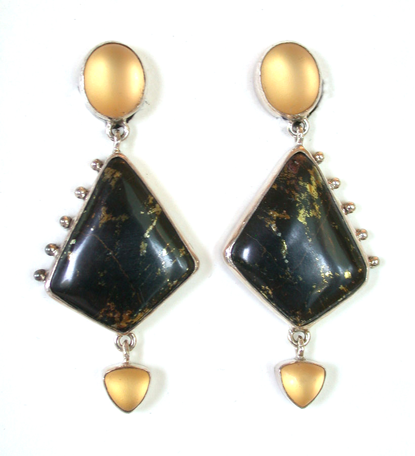 Amy Kahn Russell Online Trunk Show: Quartz & Apache Gold Clip Earrings | Rendezvous Gallery