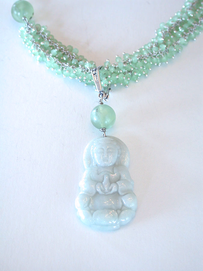 Amy Kahn Russell Online Trunk Show: Carved Jade, Prehnite & Aventurine Necklace | Rendezvous Gallery