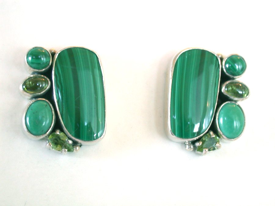 Amy Kahn Russell Online Trunk Show: Malachite, Turquoise & Peridot Clip Earrings | Rendezvous Gallery