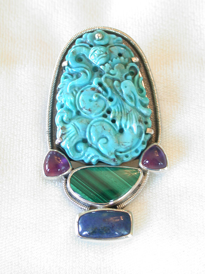 Amy Kahn Russell Online Trunk Show: Carved Turquoise, Amethyst, Malachite & Lapis Lazuli Pin/Pendant | Rendezvous Gallery