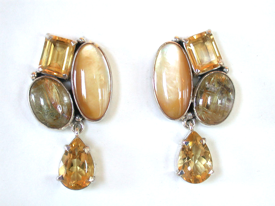 Amy Kahn Russell Online Trunk Show: Mabe Pearl, Citrine, Rutilated Quartz & Quartz Clip Earrings | Rendezvous Gallery