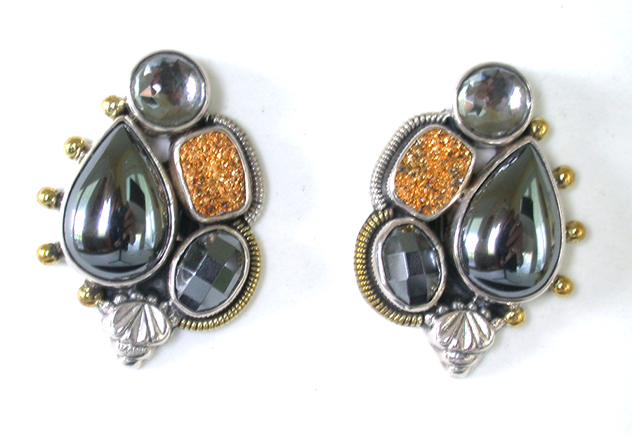 Amy Kahn Russell Online Trunk Show: Hematite, Drusy & Quartz Clip Earrings | Rendezvous Gallery