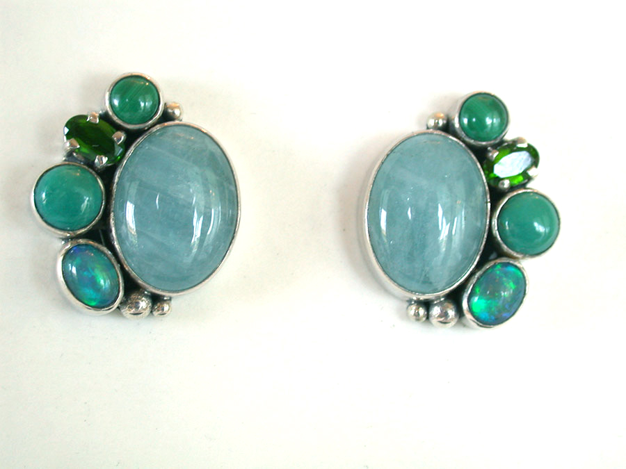Amy Kahn Russell Online Trunk Show: Aquamarine, Chrome Diopside & Opal Clip Earrings | Rendezvous Gallery