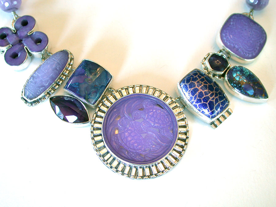 Amy Kahn Russell Online Trunk Show: Carved Purple Agate, Turquoise Matrix, & Quartz Necklace | Rendezvous Gallery