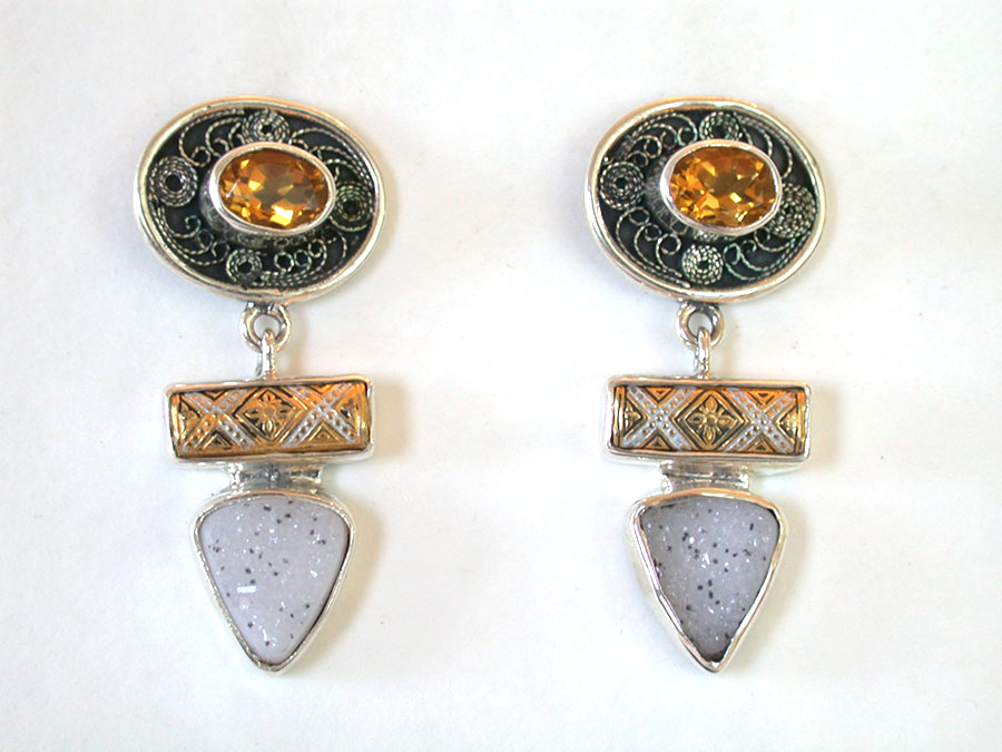 Amy Kahn Russell Online Trunk Show: Citrine, Glass & Drusy Post Earrings | Rendezvous Gallery