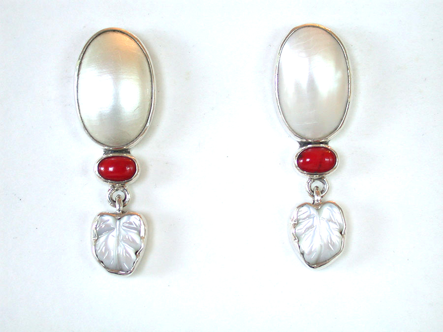 Amy Kahn Russell Online Trunk Show: Pearl, Coral & Carved Mother of Pearl Post Earrings  | Rendezvous Gallery