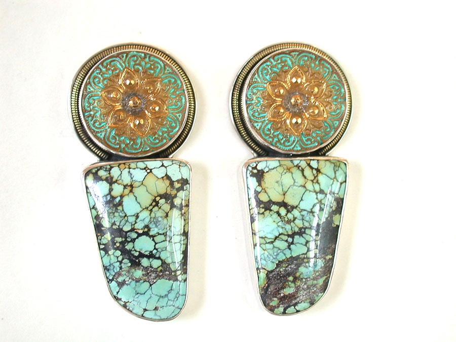 Amy Kahn Russell Online Trunk Show: Czech Glass Button & Turquoise Clip Earrings | Rendezvous Gallery