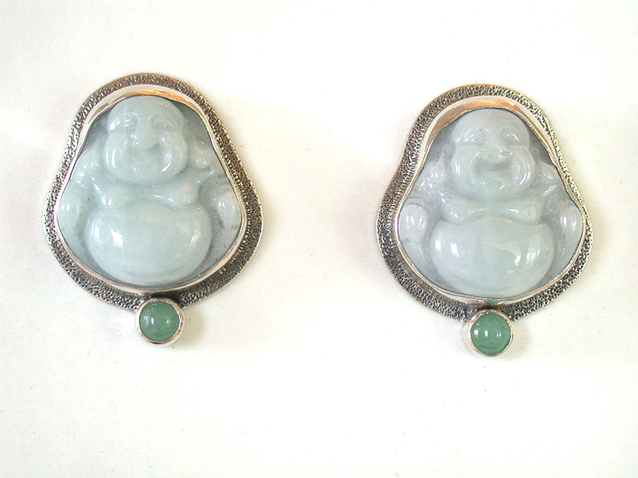 Amy Kahn Russell Online Trunk Show: Carved Jade & Aventurine Clip Earrings | Rendezvous Gallery