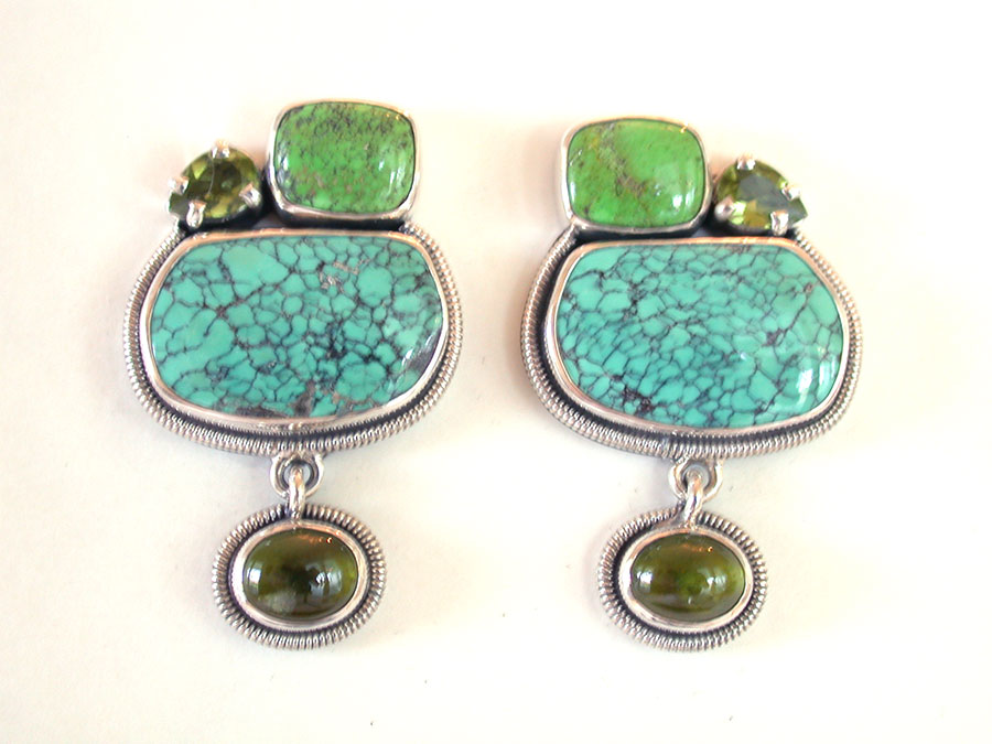 Amy Kahn Russell Online Trunk Show: Turquoise & Peridot Clip Earrings  | Rendezvous Gallery