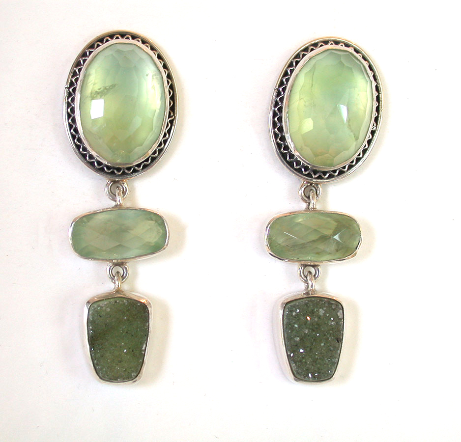 Amy Kahn Russell Online Trunk Show: Prehnite & Drusy Clip Earrings | Rendezvous Gallery