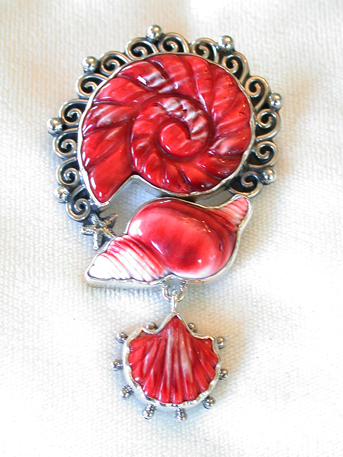 Amy Kahn Russell Online Trunk Show: Hand Carved Spiny Oyster Pin/Pendant | Rendezvous Gallery