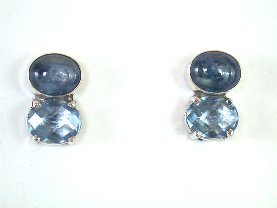Amy Kahn Russell Online Trunk Show: Kyanite & Blue Quartz Clip Earrings | Rendezvous Gallery