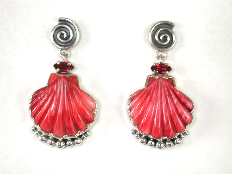 Amy Kahn Russell Online Trunk Show: Garnet & Carved Spiny Oyster Post Earrings | Rendezvous Gallery