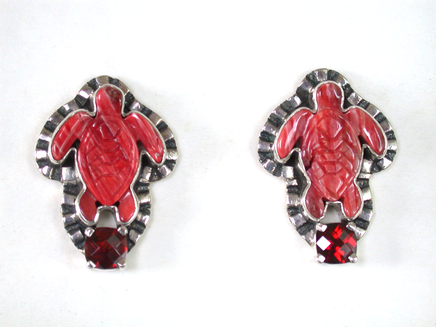 Amy Kahn Russell Online Trunk Show: Carved Spiny Oyster & Garnet Post Earrings | Rendezvous Gallery