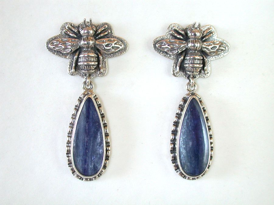 Amy Kahn Russell Online Trunk Show: Sterling Silver (Bees) & Kyanite Post Earrings | Rendezvous Gallery