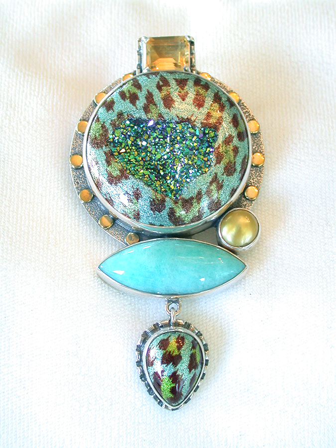 Amy Kahn Russell Online Trunk Show: Citrine, Drusy, Pearl & Amazonite Pin/Pendant | Rendezvous Gallery